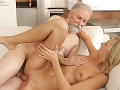 VIP4K. Brilliant blonde gets satisfied by old husband