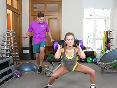 Sporty dame works out and pleases trainer with sex too