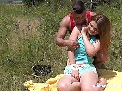 Erotic outdoor fun with a chubby ass teenager thirsting for load of shit