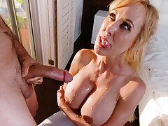 Alluring Brooklyn Chase and some helter-skelter busty MILFs love getting cum