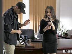 Kinky secretary Sasha Rose sucks a long detect and gets fucked