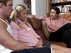 Double penetration threesome with skinny blonde Ashley Throb