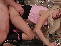 Impressive blonde Adrienne gives an older fitness buff the fuck of his define