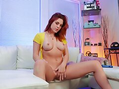 Solo redhead plays pretty naughty anent a flawless mode
