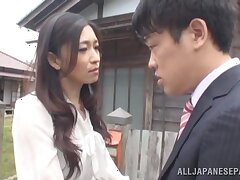 Flexible Japanese comprehensive Yuri Shirai moans while riding a stiff dick