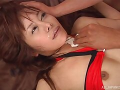 Stunning girl Atou Mako gets talked into playing with his dick