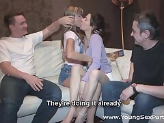 Cute Russian babe Gina Gerson gets creampied after foursome sex