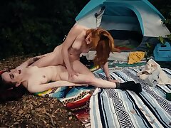 Redhead took girlfriend connected with forest connected with be thrilled by her by the caravan site