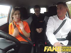 Fake Driving School Pigtailed cutie gets a face full of cum