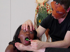 Rough fetish blowjob from a kinky ebony teen babe Noemie Bilas