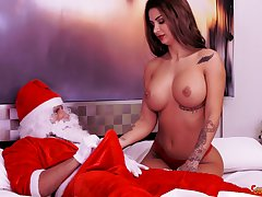 Tattooed Latina babe Susy Gala rides a big fat cock and swallows cum