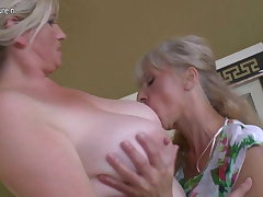 Four old and young lesbians having knockers party