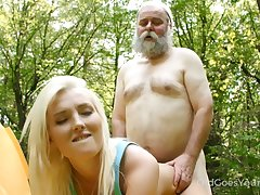 Horn-mad ancient forested fucks selfish pussy of lovely blondie Lovita Betide