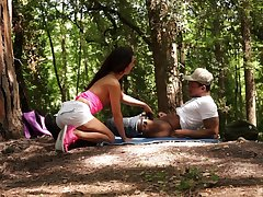 Forest mating and cumshot in mouth for Monica Gloominess from a black dude