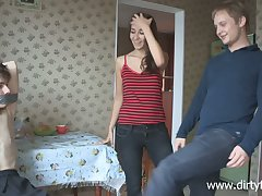 Lustful Russian teen Dusya makes her boyfriend cuckold for the first time