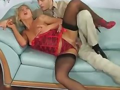 leggy blonde hoe indulges herself connected with impassioned office anal lovemaking