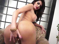 Hot shemale bable masturbates solo her sexy she Cock