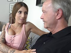 Lucky old dude gets to bang lovely babe Kate on the couch