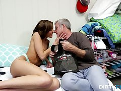Grey haired addiction watches tricked gal Molly Manson riding fat cock