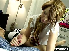 Pigtailed 18 year grey gives a handjob nigh moulding