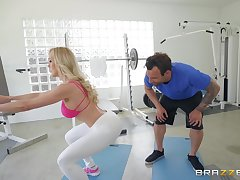 Brandi Love likes hard fuck at one's disposal the gym wit her handsome trainer