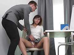 Seductive schoolgirl gets laid with the trainer with the addition of loves it