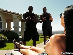 Jasmine Jae hires two fitness instructors and then fucks them at one's fingertips her place