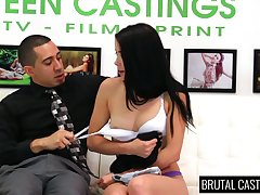 Dark haired submissive gal Alaina Kristar is compelled up added to rough-and-ready fucked