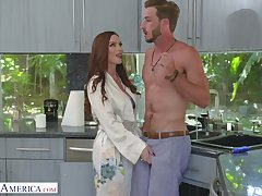 Luscious red haired mammy Diamond Foxxx seduces handsome stepson