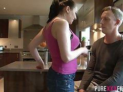 Horny mommy Lara Jade Deene seduces stepson increased by bangs him relating to the kitchen