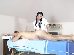 Papa receives massage and sex from saleable masseuse