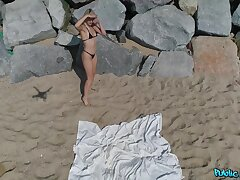 Unrestrained fucking on the public beach with attractive Liz Rainbow