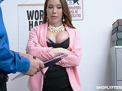 Milf pickaroon Bianca Burke gets fucked and jizzed by security guy
