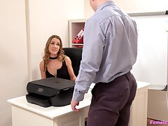 Skinny secretary has a pussy on touching have an eye